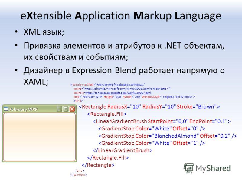 eXtensible Application Markup Language XML язык; Привязка элементов и атрибутов к.NET объектам, их свойствам и событиям; Дизайнер в Expression Blend работает напрямую с XAML;