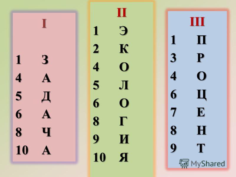I 1 З 4 А 5 Д 6 А 8 Ч 10 А II 1 Э 2 К 4 О 5 Л 6 О 8 Г 9 И 10 Я III 1 П 3 Р 4 О 6 Ц 7 Е 8 Н 9 Т