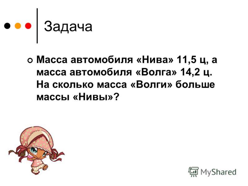 Задача Масса автомобиля «Нива» 11,5 ц, а масса автомобиля «Волга» 14,2 ц. На сколько масса «Волги» больше массы «Нивы»?