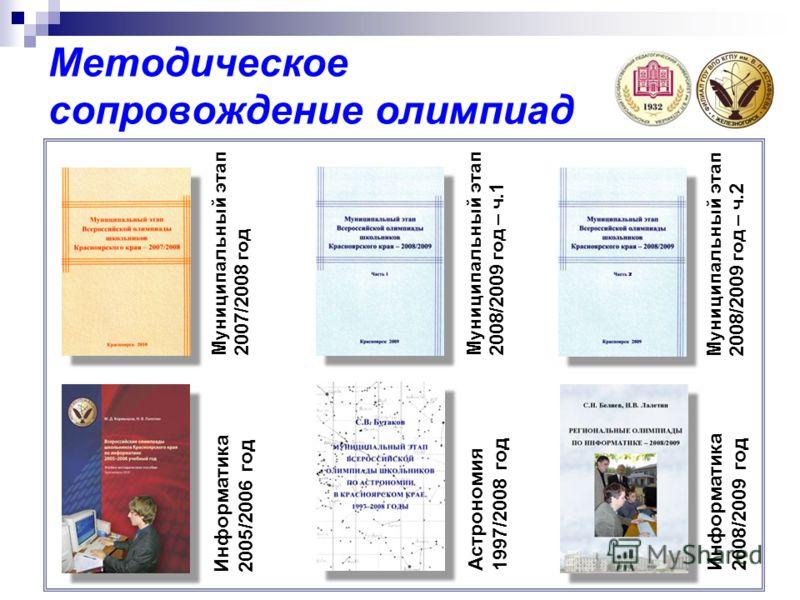 Методическое сопровождение олимпиад Информатика 2005/2006 год Муниципальный этап 2007/2008 год Муниципальный этап 2008/2009 год – ч.1 Муниципальный этап 2008/2009 год – ч.2 Астрономия 1997/2008 год Информатика 2008/2009 год