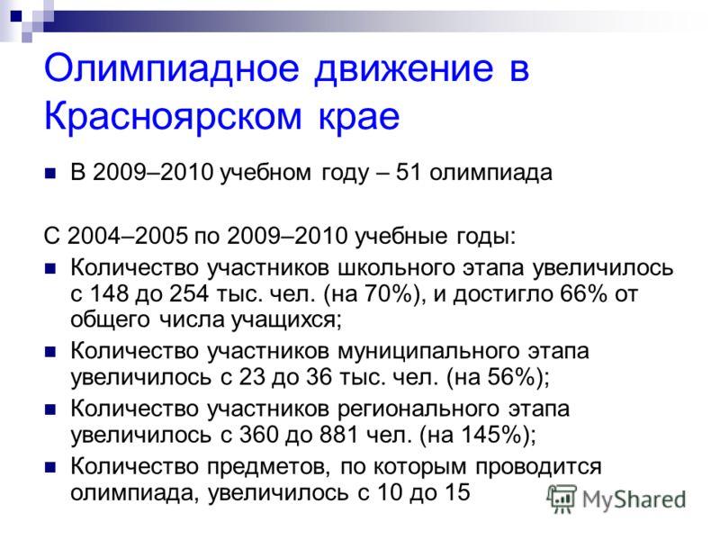 Олимпиадное движение в Красноярском крае В 2009–2010 учебном году – 51 олимпиада С 2004–2005 по 2009–2010 учебные годы: Количество участников школьного этапа увеличилось с 148 до 254 тыс. чел. (на 70%), и достигло 66% от общего числа учащихся; Количе