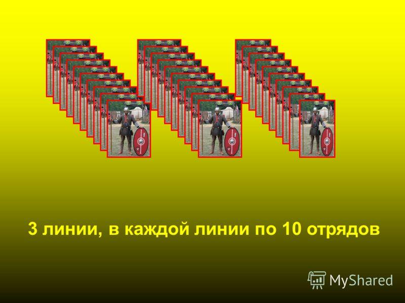 3 линии, в каждой линии по 10 отрядов