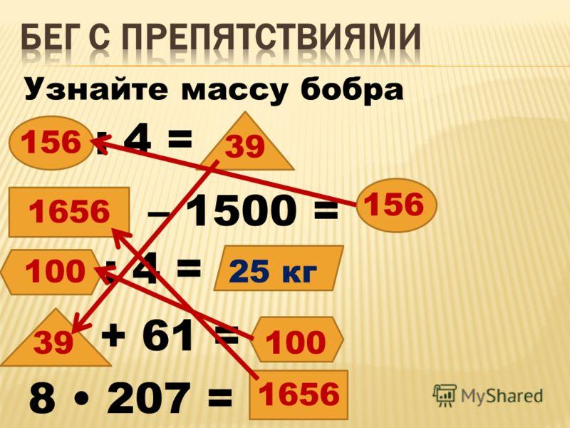 Узнайте массу бобра 1656 : 4 = – 1500 = : 4 = + 61 = 8 207 = 156 39 100 25 кг