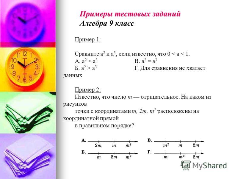 Пример 1: Сравните а 2 и а 3, если известно, что 0 < а < 1. А. а 2 < а 3 В. а 2 = а 3 Б. а 2 > а 3 Г. Для сравнения не хватает данных Пример 2: Известно, что число т отрицательное. На каком из рисунков точки с координатами т, 2т, т 2 расположены на к