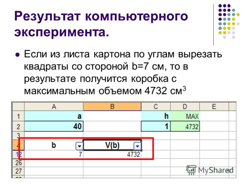 Если из листа картона по углам вырезать квадраты со стороной b=7 см, то в результате получится коробка с максимальным объемом 4732 см 3 Результат компьютерного эксперимента. 12