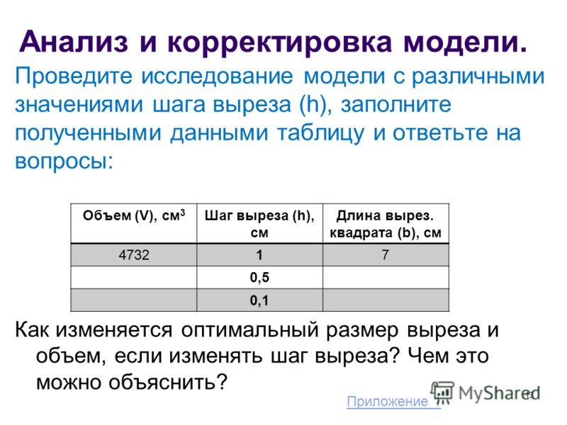 Анализ и корректировка модели. Проведите исследование модели с различными значениями шага выреза (h), заполните полученными данными таблицу и ответьте на вопросы: Как изменяется оптимальный размер выреза и объем, если изменять шаг выреза? Чем это мож