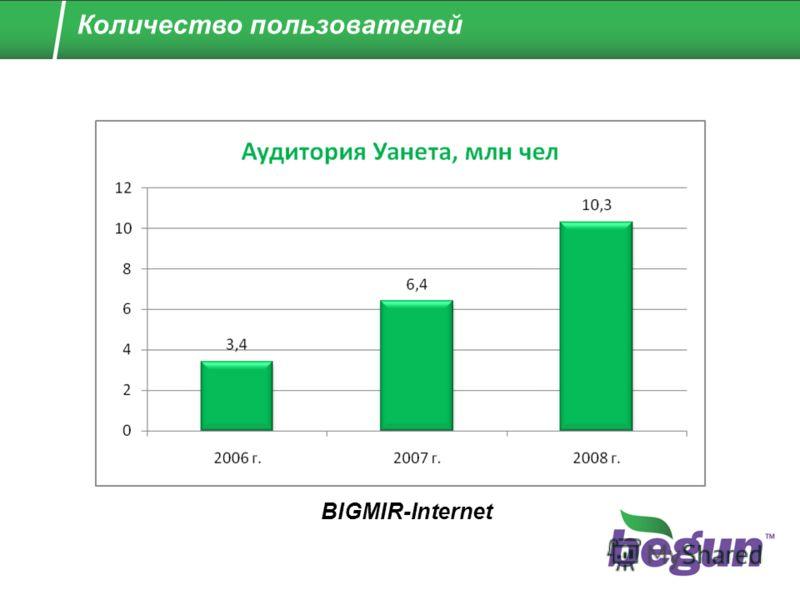 Количество пользователей BIGMIR-Internet