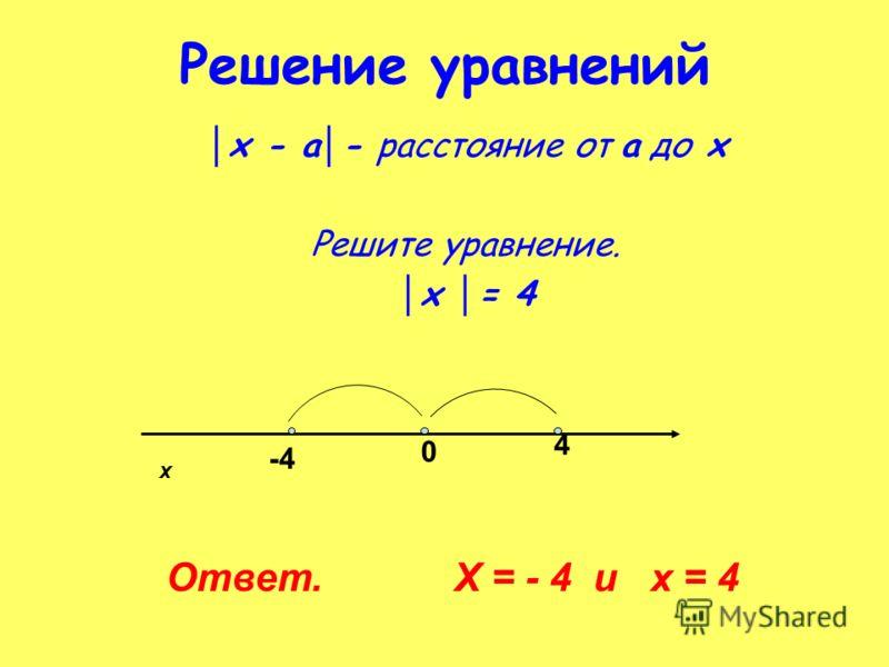 Решение уравнений х - а - расстояние от а до х Решите уравнение. х = 4 х 0 -4 4 Ответ. Х = - 4 и х = 4