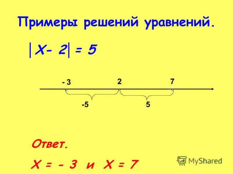 Примеры решений уравнений. Х- 2 = 5 - 3 27 -55 Ответ. Х = - 3 и Х = 7