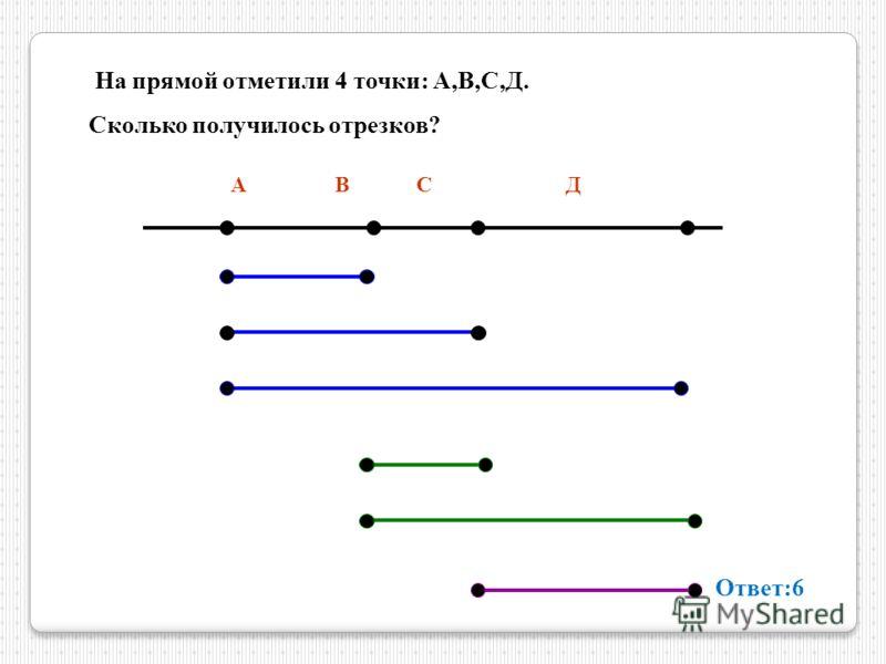 На прямой отметили 4 точки : А, В, С, Д. Сколько получилось отрезков ? А В С Д Ответ :6