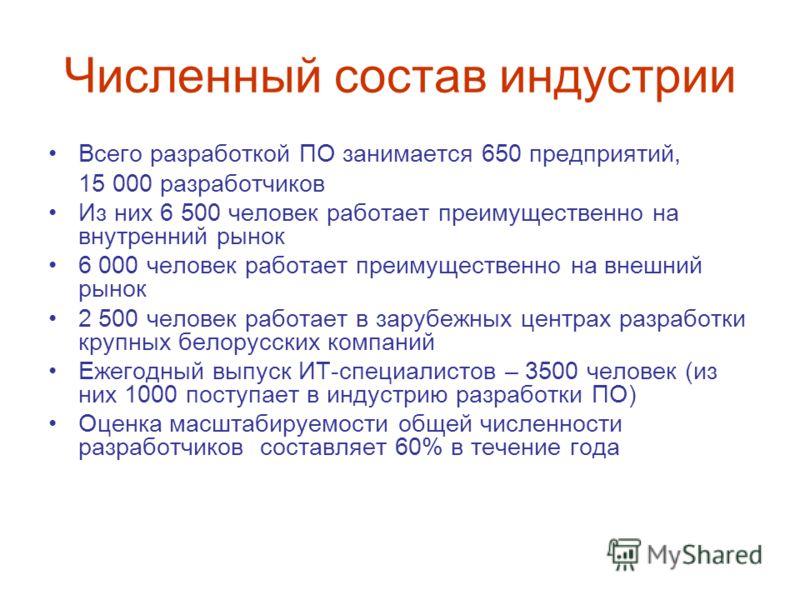 Численный состав индустрии Всего разработкой ПО занимается 650 предприятий, 15 000 разработчиков Из них 6 500 человек работает преимущественно на внутренний рынок 6 000 человек работает преимущественно на внешний рынок 2 500 человек работает в зарубе