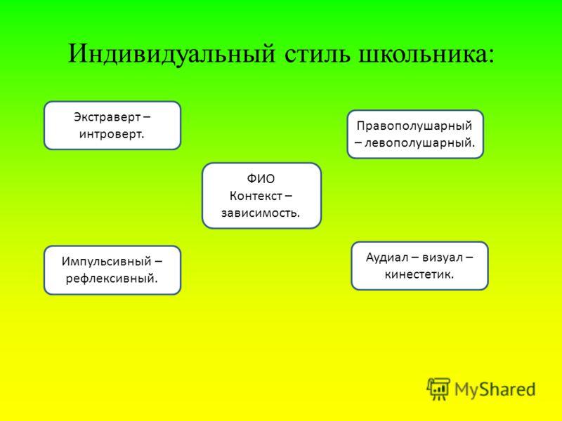 Индивидуальный стиль школьника: ФИО Контекст – зависимость. Правополушарный – левополушарный. Экстраверт – интроверт. Импульсивный – рефлексивный. Аудиал – визуал – кинестетик.