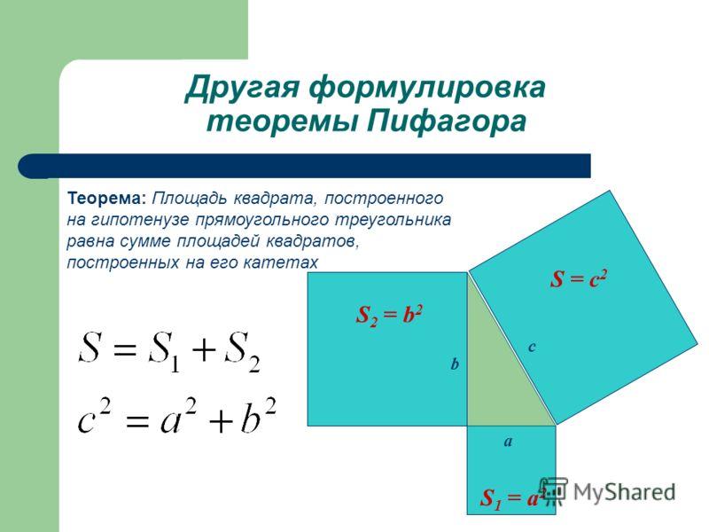 Другая формулировка теоремы Пифагора S = c 2 S 2 = b 2 S 1 = a 2 a b c Теорема: Площадь квадрата, построенного на гипотенузе прямоугольного треугольника равна сумме площадей квадратов, построенных на его катетах