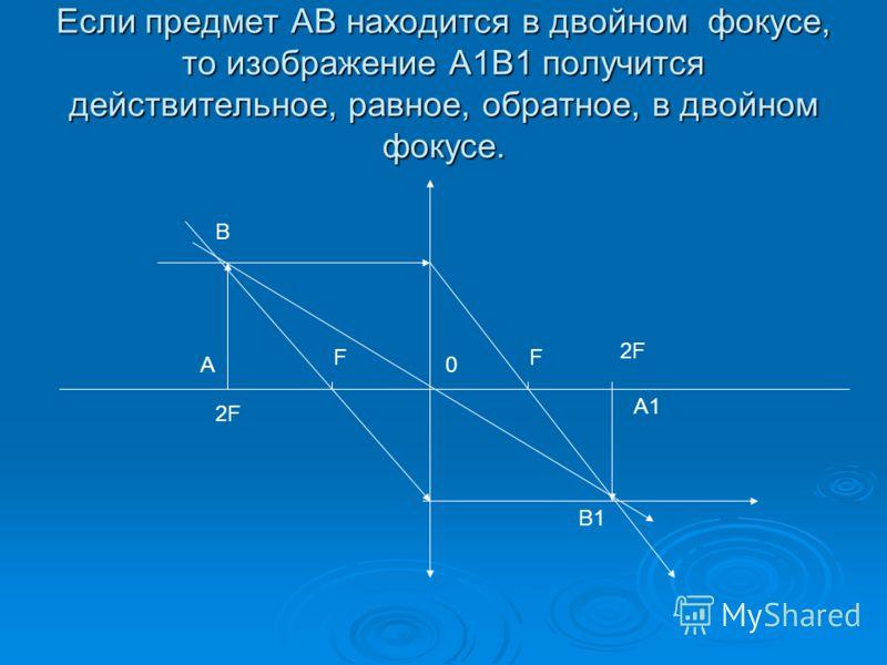 Если предмет AB находится в двойном фокусе, то изображение A1B1 получится действительное, равное, обратное, в двойном фокусе. FF 2F 0A B A1 B1