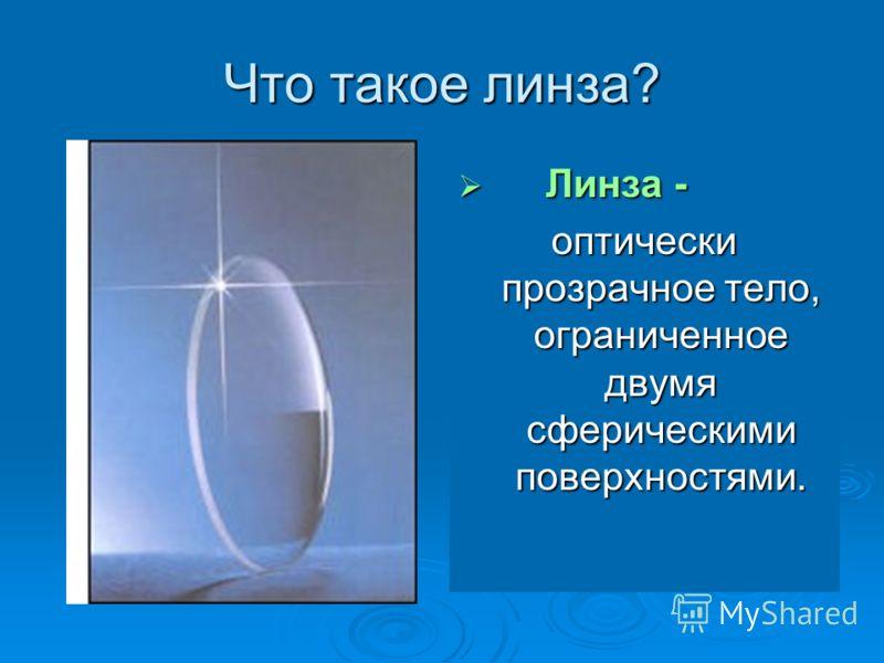 Что такое линза? Линза - Линза - оптически прозрачное тело, ограниченное двумя сферическими поверхностями.