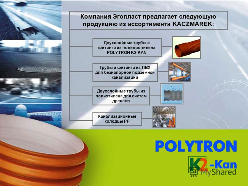 Двухслойные трубы и фитинги из полипропилена POLYTRON K2-KAN Трубы и фитинги из ПВХ для безнапорной подземной канализации Канализационные колодцы PP Двухслойные трубы из полиэтилена для систем дренажа Компания Эгопласт предлагает следующую продукцию