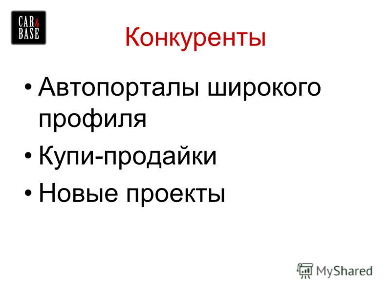 Конкуренты Автопорталы широкого профиля Купи-продайки Новые проекты