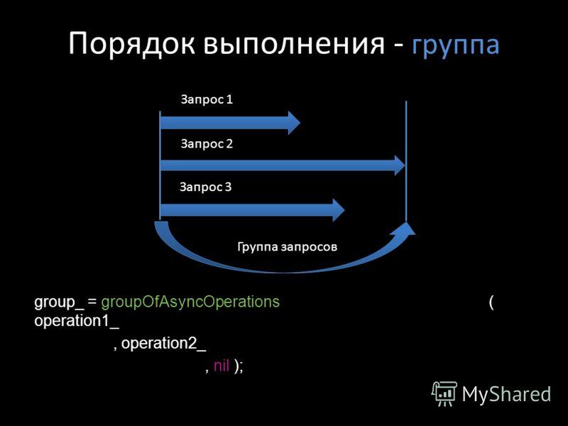 Порядок выполнения - группа group_ = groupOfAsyncOperations ( operation1_, operation2_, nil ); Запрос 3 Запрос 1 Запрос 2 Группа запросов