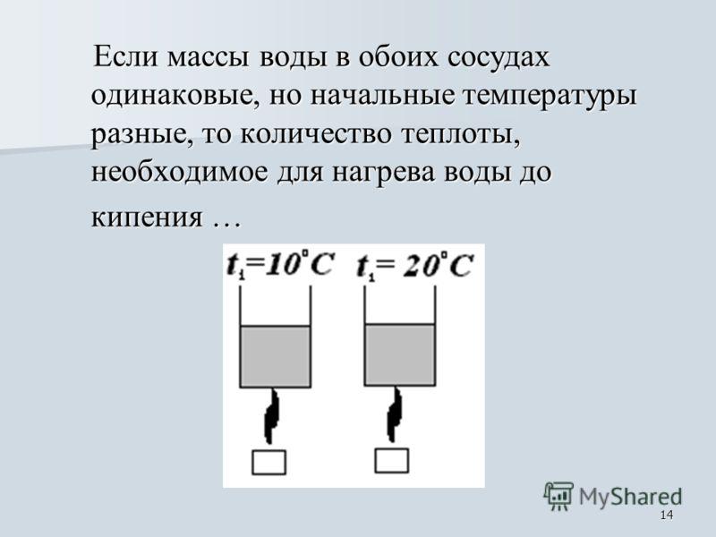 14 Если массы воды в обоих сосудах одинаковые, но начальные температуры разные, то количество теплоты, необходимое для нагрева воды до Если массы воды в обоих сосудах одинаковые, но начальные температуры разные, то количество теплоты, необходимое для