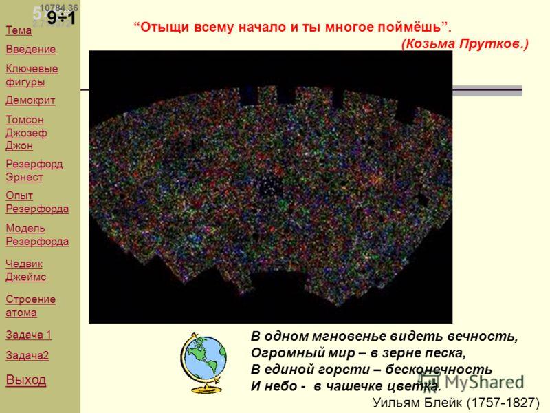 В одном мгновенье видеть вечность, Огромный мир – в зерне песка, В единой горсти – бесконечность И небо - в чашечке цветка. Уильям Блейк (1757-1827) Отыщи всему начало и ты многое поймёшь. (Козьма Прутков.) Тема Введение Ключевые фигуры Демокрит Томс