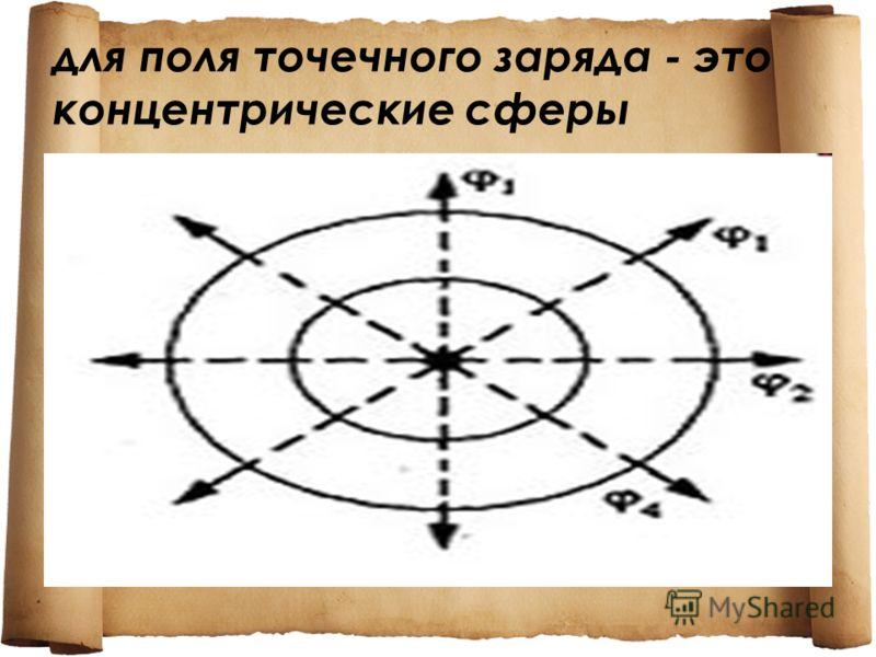 для поля точечного заряда - это концентрические сферы