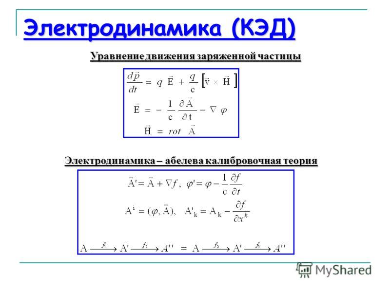 Электродинамика (КЭД) Уравнение движения заряженной частицы Электродинамика – абелева калибровочная теория