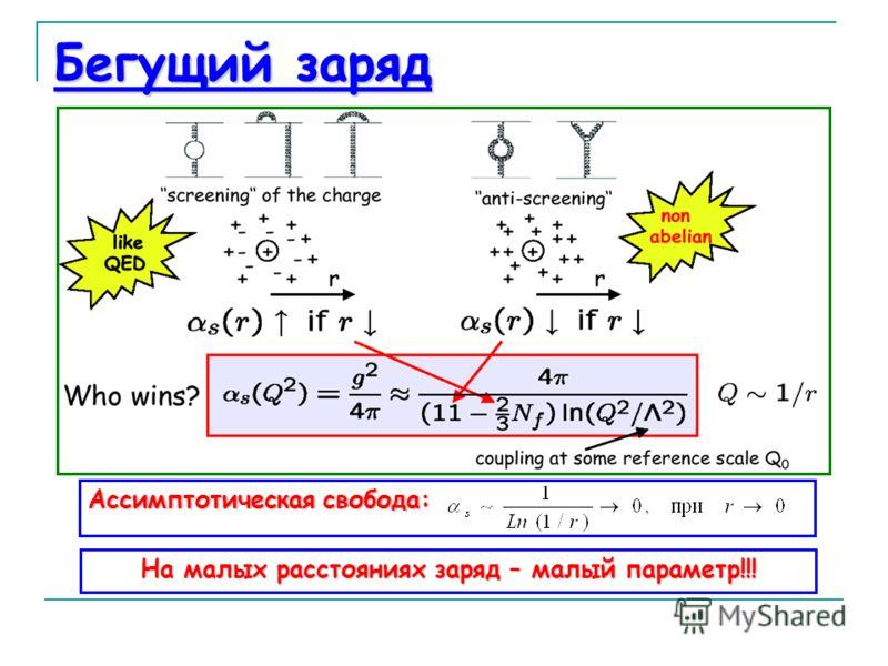 Бегущий заряд Ассимптотическая свобода: На малых расстояниях заряд – малый параметр!!!