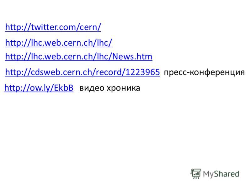 http://twitter.com/cern/ http://lhc.web.cern.ch/lhc/ http://lhc.web.cern.ch/lhc/News.htm http://cdsweb.cern.ch/record/1223965http://cdsweb.cern.ch/record/1223965 пресс-конференция http://ow.ly/EkbBhttp://ow.ly/EkbB видео хроника