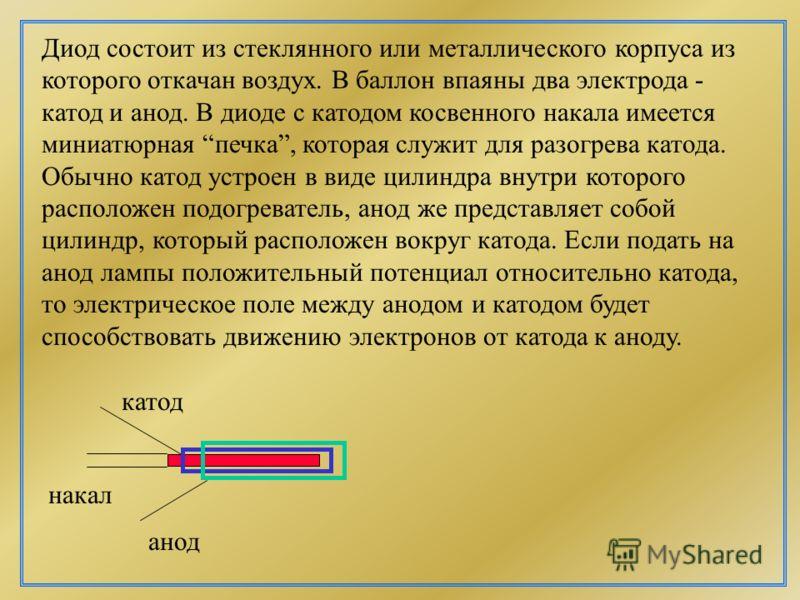 Двухэлектродная лампа - диод. U накала катод анод R U a I A