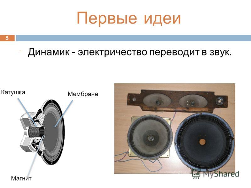 5 Динамик - электричество переводит в звук. Катушка Мембрана Магнит Первые идеи