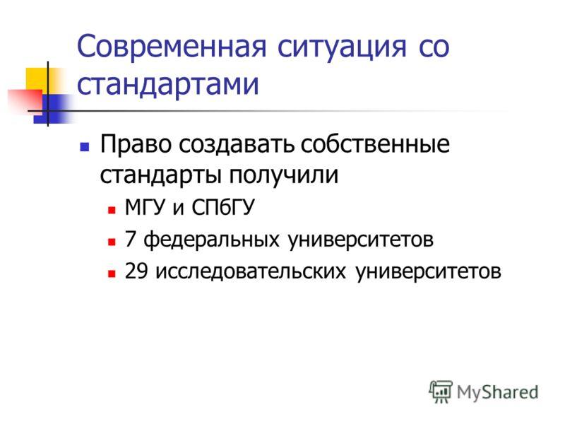 Современная ситуация со стандартами Право создавать собственные стандарты получили МГУ и СПбГУ 7 федеральных университетов 29 исследовательских университетов