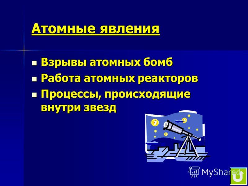 Атомные явления Взрывы атомных бомб Взрывы атомных бомб Работа атомных реакторов Работа атомных реакторов Процессы, происходящие внутри звезд Процессы, происходящие внутри звезд
