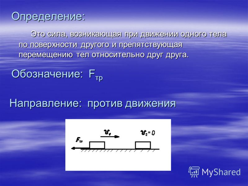 Определение: Это сила, возникающая при движении одного тела по поверхности другого и препятствующая перемещению тел относительно друг друга. Обозначение: Fтр Направление: против движения