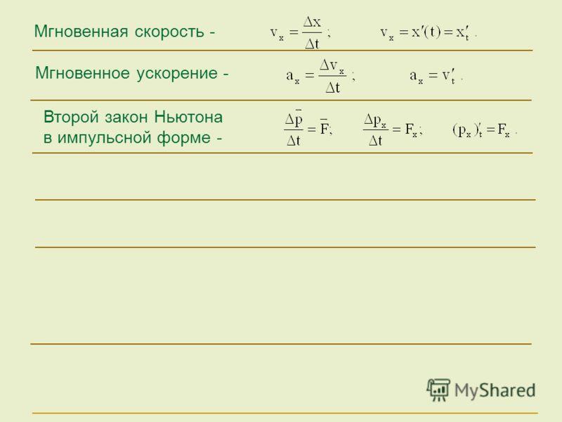 Мгновенное ускорение - Мгновенная скорость - Второй закон Ньютона в импульсной форме -