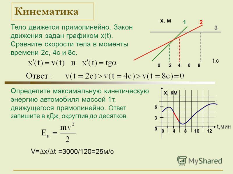 Определите максимальную кинетическую энергию автомобиля массой 1т, движущегося прямолинейно. Ответ запишите в кДж, округлив до десятков. Кинематика Тело движется прямолинейно. Закон движения задан графиком х(t). Сравните скорости тела в моменты време