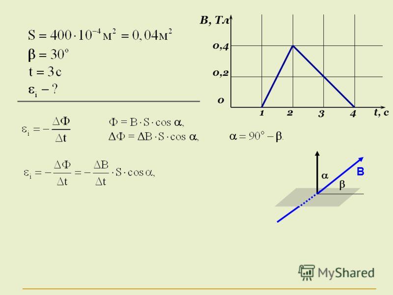 В, Тл 0,4 0,2 0 1 2 3 4 t, c B