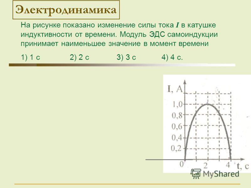 Электродинамика На рисунке показано изменение силы тока I в катушке индуктивности от времени. Модуль ЭДС самоиндукции принимает наименьшее значение в момент времени 1) 1 с 2) 2 с 3) 3 с 4) 4 с.