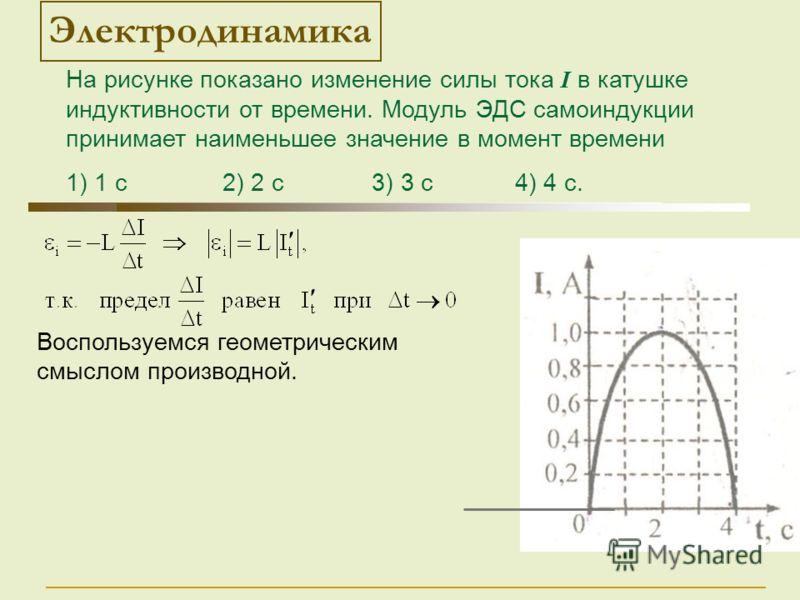 Воспользуемся геометрическим смыслом производной. Электродинамика На рисунке показано изменение силы тока I в катушке индуктивности от времени. Модуль ЭДС самоиндукции принимает наименьшее значение в момент времени 1) 1 с 2) 2 с 3) 3 с 4) 4 с.