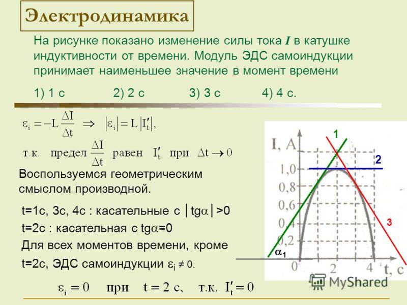 t=1c, 3c, 4c : касательные с tg>0 t=2c : касательная с tg =0 Для всех моментов времени, кроме t=2c, ЭДС самоиндукции i 0. 1 Воспользуемся геометрическим смыслом производной. 1 2 Электродинамика 3 На рисунке показано изменение силы тока I в катушке ин
