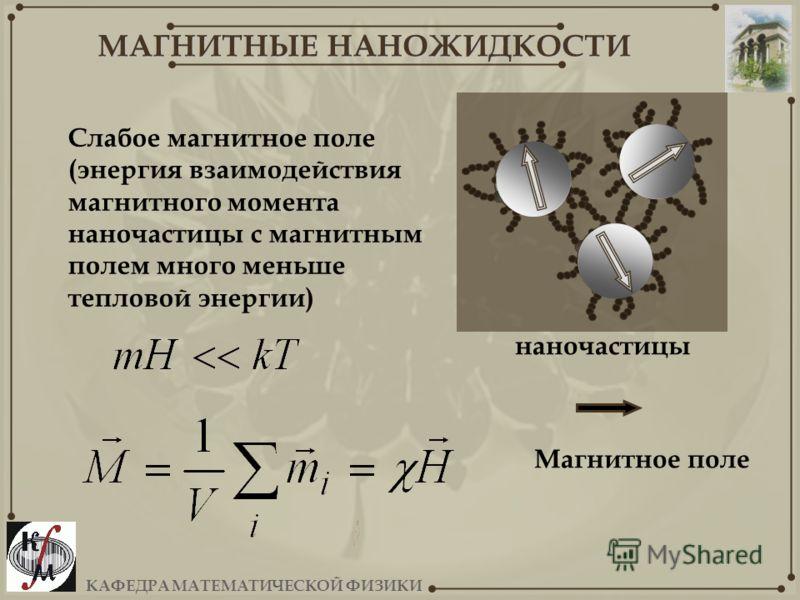 КАФЕДРА МАТЕМАТИЧЕСКОЙ ФИЗИКИ МАГНИТНЫЕ НАНОЖИДКОСТИ наночастицы Слабое магнитное поле (энергия взаимодействия магнитного момента наночастицы с магнитным полем много меньше тепловой энергии) Магнитное поле