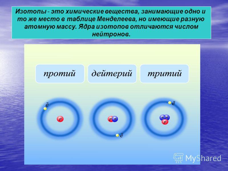 Изотопы - это химические вещества, занимающие одно и то же место в таблице Менделеева, но имеющие разную атомную массу. Ядра изотопов отличаются числом нейтронов.
