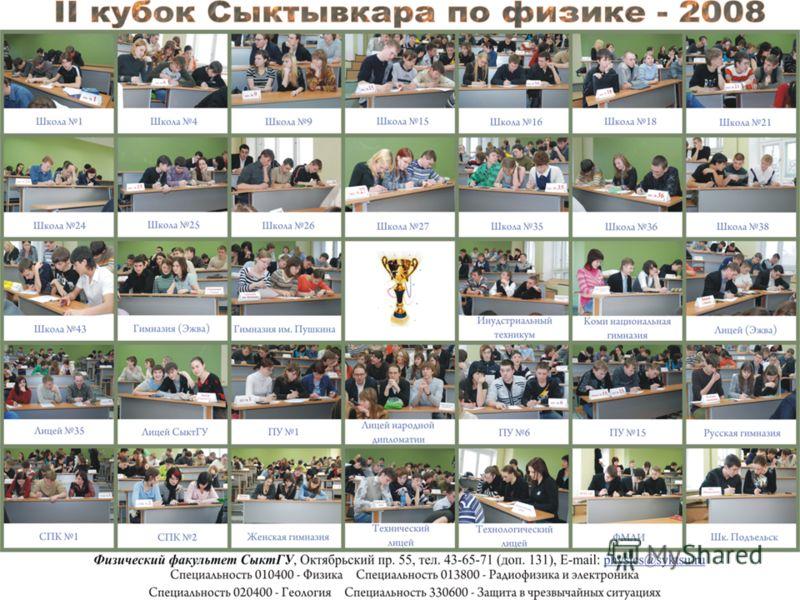Второй кубок Сыктывкара по физике Участвовало 36 команд Участвовало 36 команд Победители (13 комманд) получили возможность поступления в СыктГУ без экзаменов Победители (13 комманд) получили возможность поступления в СыктГУ без экзаменов Первое место
