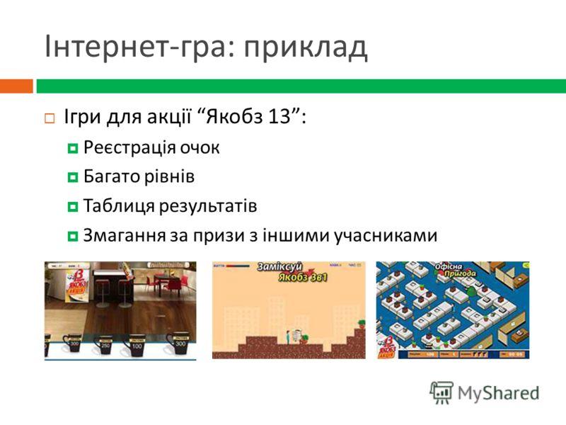 Інтернет - гра : приклад Ігри для акції Якобз 13: Реєстрація очок Багато рівнів Таблиця результатів Змагання за призи з іншими учасниками