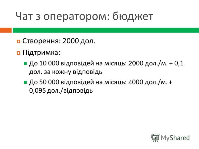 Чат з оператором : бюджет Створення : 2000 дол. Підтримка : До 10 000 відповідей на місяць : 2000 дол./ м. + 0,1 дол. за кожну відповідь До 50 000 відповідей на місяць : 4000 дол./ м. + 0,095 дол./ відповідь