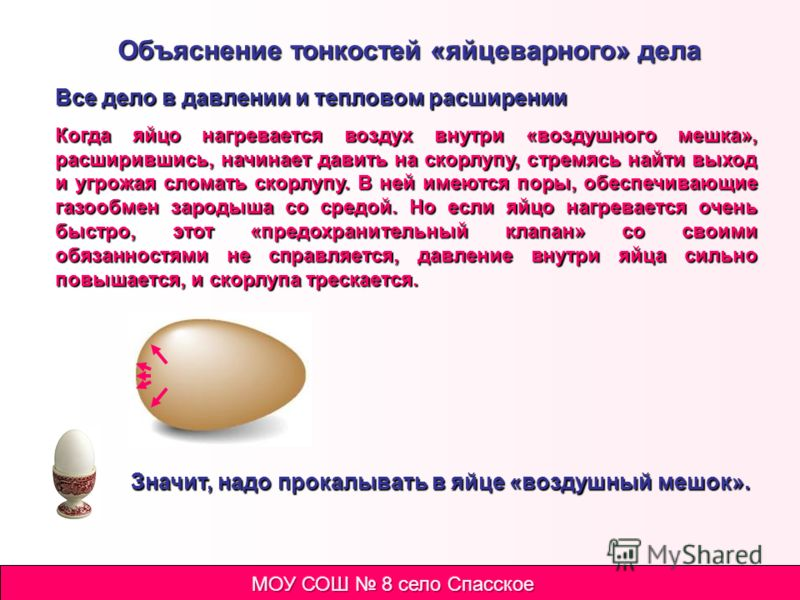 Просто варим яйца Достаем яйца из холодильника. Кладем яйца в кипящую воду и варим. Сваренные яйца сразу очищаем. Результаты такой варки яиц Было сварено вкрутую 5 яиц, из них: треснули во время варки 5 яиц вытекли во время варки 1 яйцо плохо очистил