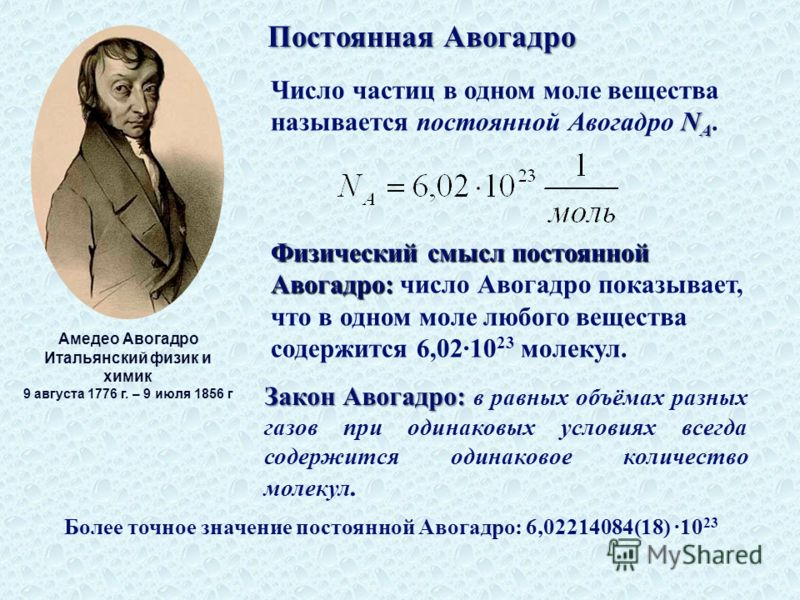 Постоянная Авогадро Амедео Авогадро Итальянский физик и химик 9 августа 1776 г. – 9 июля 1856 г N A Число частиц в одном моле вещества называется постоянной Авогадро N A. Физический смысл постоянной Авогадро: Физический смысл постоянной Авогадро: чис