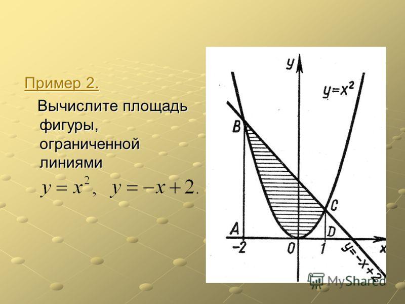 Пример 2. Пример 2. Вычислите площадь фигуры, ограниченной линиями Вычислите площадь фигуры, ограниченной линиями