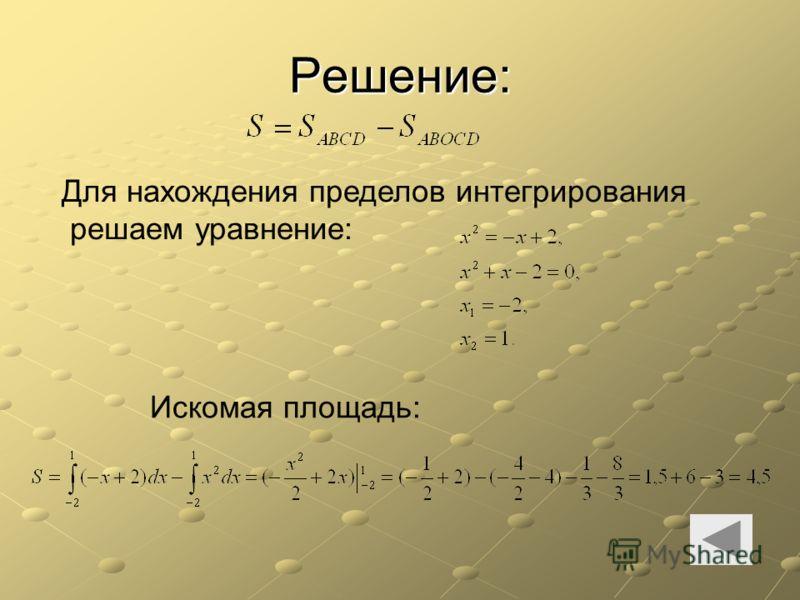 Решение: Для нахождения пределов интегрирования решаем уравнение: Искомая площадь:
