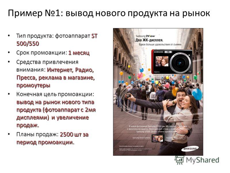 Пример 1: вывод нового продукта на рынок ST 500/550 Тип продукта: фотоаппарат ST 500/550 1 месяц Срок промоакции: 1 месяц Интернет, Радио, Пресса, реклама в магазине, промоутеры Средства привлечения внимания: Интернет, Радио, Пресса, реклама в магази