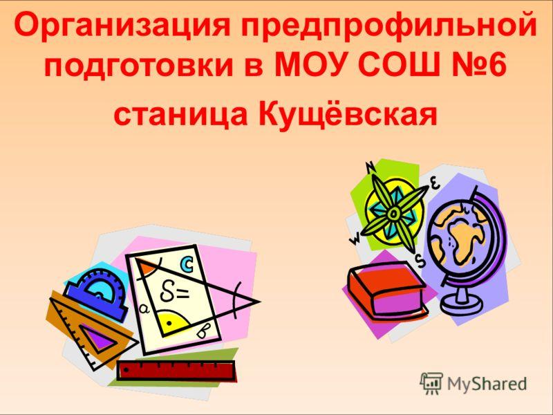 Организация предпрофильной подготовки в МОУ СОШ 6 станица Кущёвская